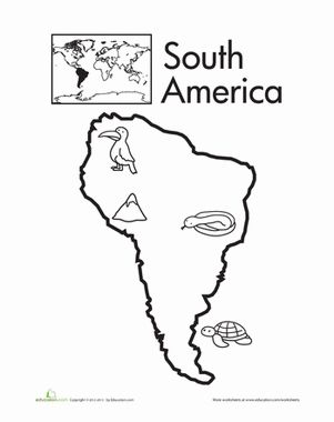 seven continents for preschoolers   Kindergarten Places Worksheets: Color the Continents: South America