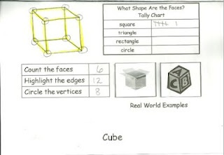 3D shapes flip book.  Just copy, fold, and staple!   http://www.teacherspayteachers.com/Product/3D-Shapes-Flip-Book