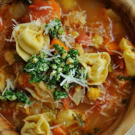 This recipe is smokin'! Smokey #Minestrone with #Tortellini and Parsley or Basil Pesto