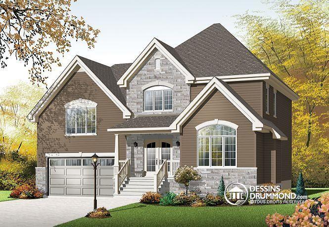 Plan W3455-V2 de Dessins Drummond. Manoir européen, 3 chambres, garage double, grand espace boni! http://www.dessinsdrummond.com/detail-plan-de-maison/info/1003041.html