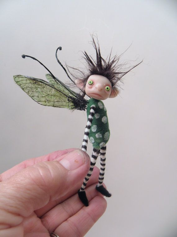 ooak pose-able tiny pok-a-dot BUG pixie FAIRY (18 ) art doll by DinkyDarlings