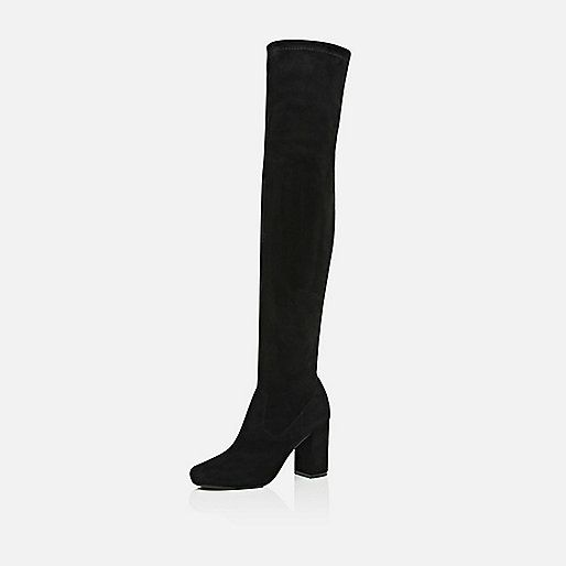 Black smart over the knee boots - knee high boots - shoes / boots - women