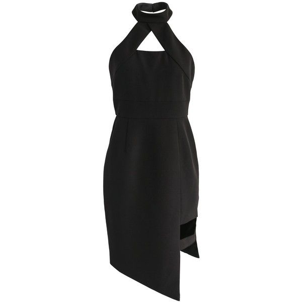 Chicwish Modish Muse Halter Neck Dress in Black ($59) ❤ liked on Polyvore featuring dresses, black, zip back dress, halter neck dress, halter dress, lining dress and halter-neck dress