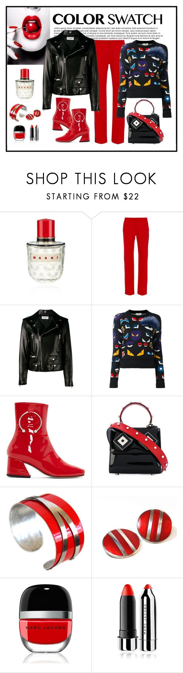 """Fendi Bugs Sweater Look"" by romaboots-1 ❤ liked on Polyvore featuring Marni, Clover Canyon, Yves Saint Laurent, Fendi, Dorateymur, Les Petits Joueurs, Ferrari and Marc Jacobs"