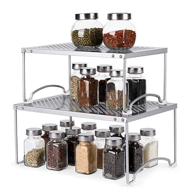 Amazon Com Nex Kitchen Cabinet And Counter Shelf Organizer Non Slip Stackable Expandable Kitchen Di Shelf Organization Kitchen Cabinets Kitchen Shelves