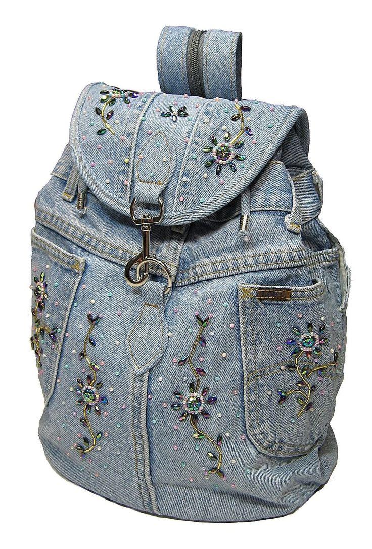 Amazon.com: Upcycled Handmade Beaded Blue Denim Backpack: Clothing