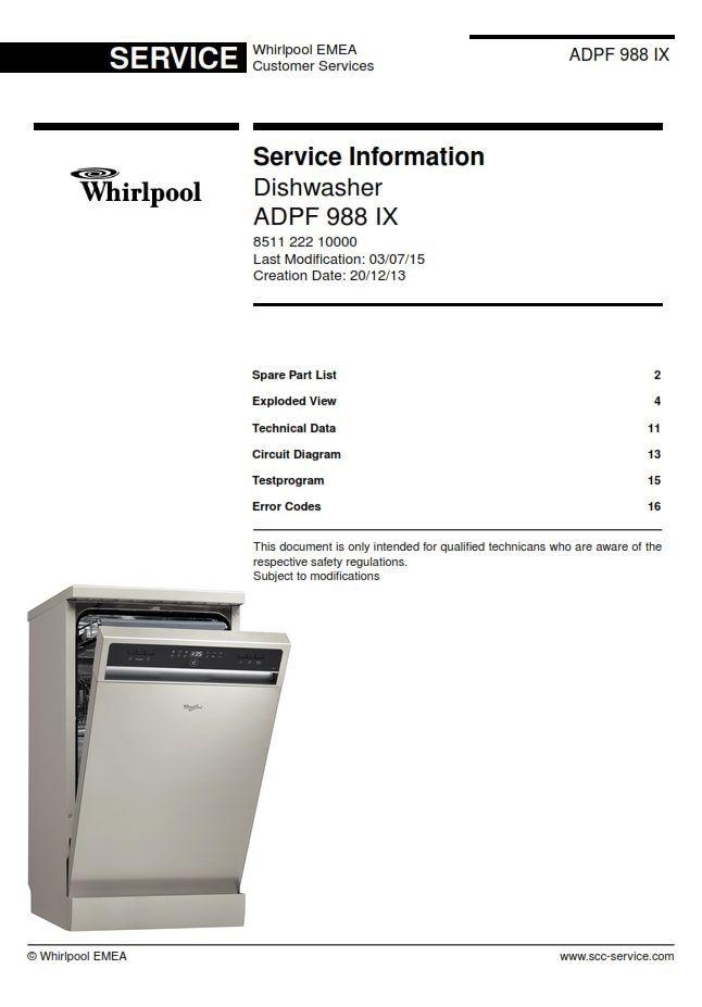 Whirlpool Adpf 988 Ix Dishwasher Service Information Manual Technicians Guide Dishwasher Service Repair Guide Technician