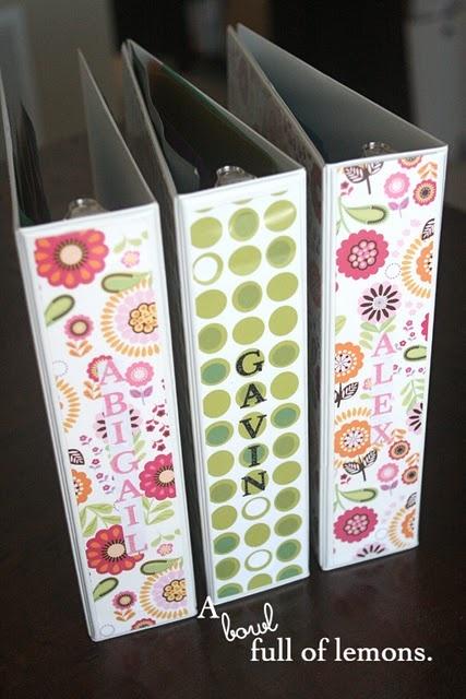 Keepsake binders, for all the cute stuff kids bring home from school :)