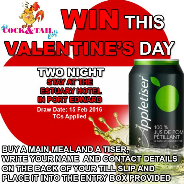 #WIN with @TheCockTailCafé this #ValentinesDay @TheEstuaryHotel @AppletiserZA #Margate #PortEdward #SouthCoastKZN