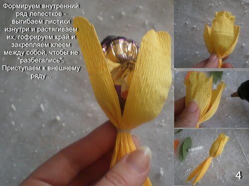 Тюльпаны из конфет - Цветы из конфет - Поделки из конфет - Каталог статей - Рукодел.TV