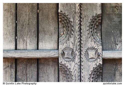 "Carved Wooden vernacular shed door detail built by ""Pasco of the Salaje"" (county Salaj) in 1775, Berbesti, Maramures. Dimitrie, Romania"