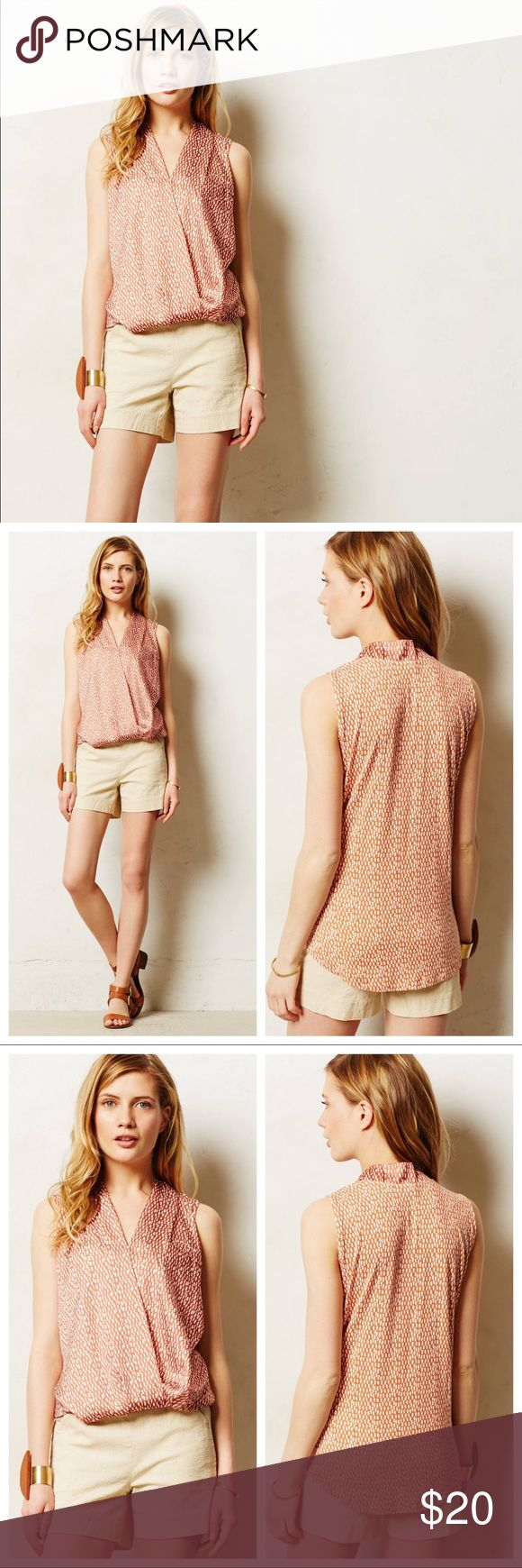 "Anthropologie Dolan Pia Crossover Tank Details:  When it comes to basics, we can't get enough of easy, thoughtful pieces that go beyond the call of casual duty. Dolan's silky-slouchy top will take you from desk to dinner. EUC. Tiny bit of pulling at neckline as shown.   By Dolan Pullover styling Polyester, rayon, spandex; polyester lining Machine wash Regular: 24""L Petite: 22.25""L USA Style No. 4112212061755 Anthropologie Tops Tank Tops"