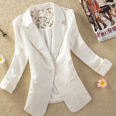 2014 Spring Jaqueta Female Summer Lace Suits Women Casual Casacos One Button Chaqueta Mujer White Yellow Blazer Femininos Blaser $21.98