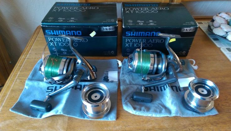 2 x Shimano Power Aero XT 10,000, fantastic condition, really smooth, boxed with spare spool, bags and washers.