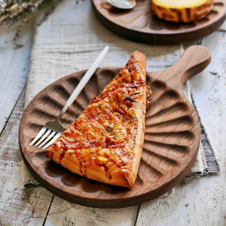 Черный орех деревянный поднос хлеб фруктовый чай лоток пиццы плиты наковальня правления Дома Деревянная разделочная доска кухонная разделочная доска