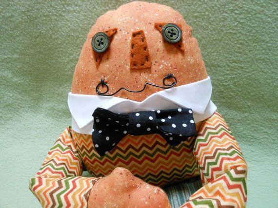 Humpty Dumpty Doll Handmade in Fall Colors, Home Decor, Autumn, Halloween, Nursery Rhyme