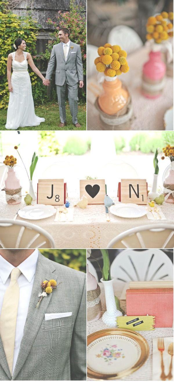 love the scrabble cards!: Yellow Flowers, Scrabble Wedding, Suits Colors, Scrabble Theme, Big Scrabble, Scrabble Places, Scrabble Tile, Scrabble Cards, Scrabble Letters