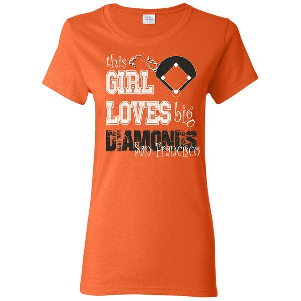 This Girl Loves Big Diamonds San Francisco Ladies Cut T Shirt White... ($14) ❤ liked on Polyvore featuring tops, t-shirts, orange, women's clothing, diamond t shirt, holiday tops, black and white baseball tee, orange t shirt and cap sleeve t shirt