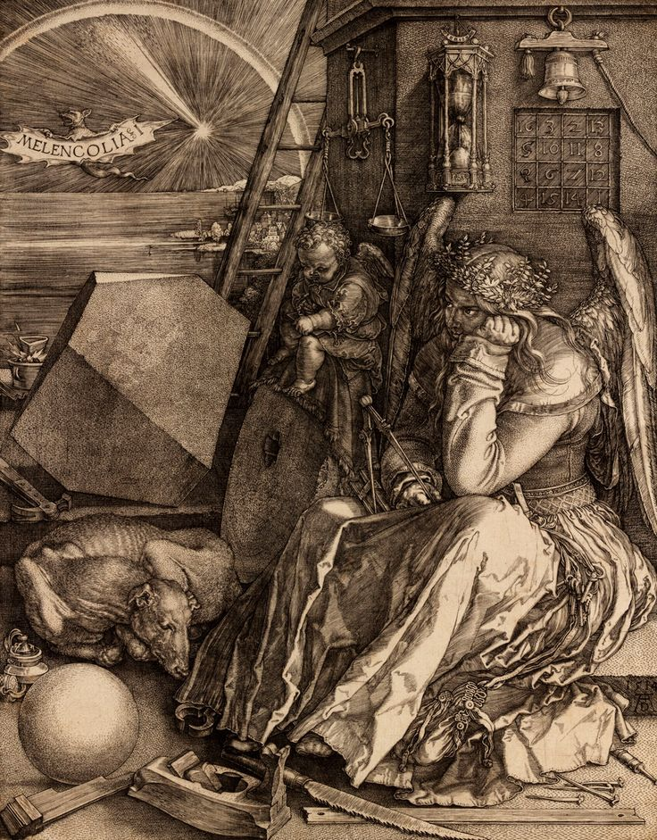 Melancolia I, Albrecht Dürer, 1514  engraving. In Dan Brown's, The Lost Symbol, Langdon realizes that the 'magic square' in Dürer's Melancholia I can help decipher a coded message.