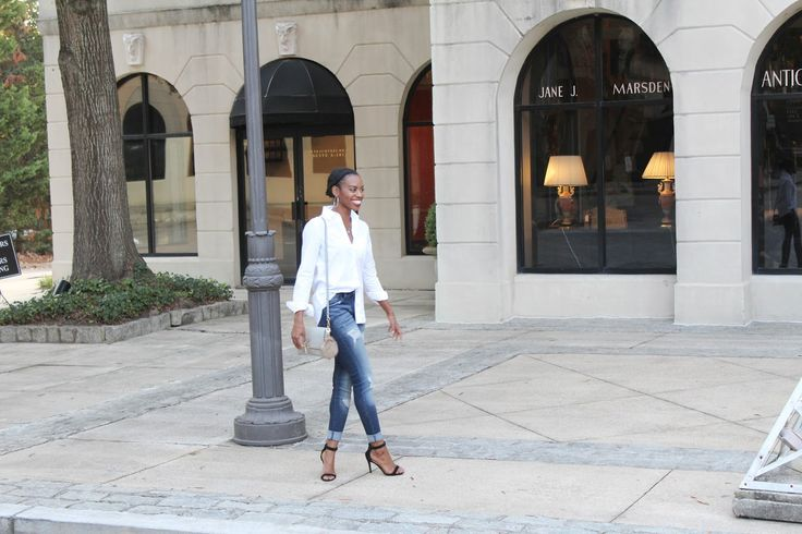 Deanna Luvs You | Wearing white button down from Aeropostale, Kan Can jeans, Windsor Store shoes, Francesca's handbag in Atlanta, GA