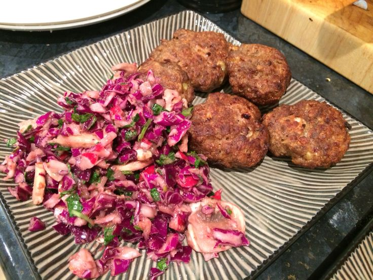 Double thermy goodness, herb mushroom, cabbage and homegrown radish salad and simple but DELISH beef rissoles oh yeah