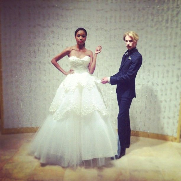 Austin Scarlett with a design from his debut bridal collection at the flagship.