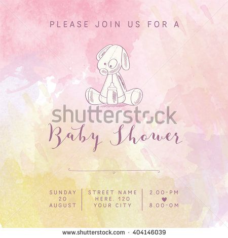 watercolor baby girl shower card with retro toy, vector illustration - stock vector