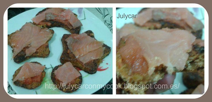 Galletas de tofu con salmón