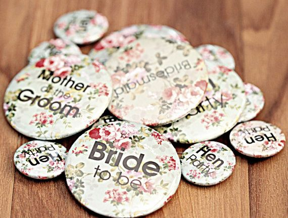 Make way ladies, badges are the new must have accessory for your hen do or bridal shower. These cute floral badges have a vintage feel. They come