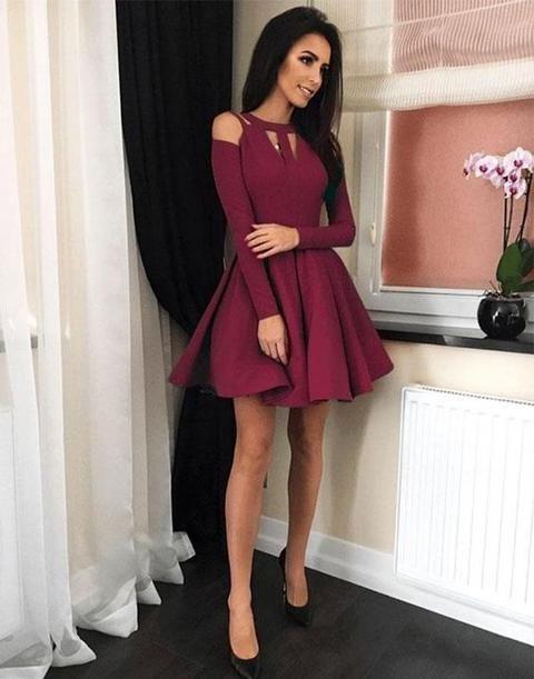 Simple burgundy short dress, short homecoming dress cg135