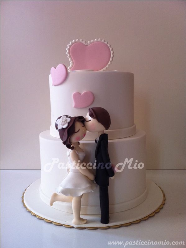 What a cute engagement cake! This would be delightful at any engagement party ♡