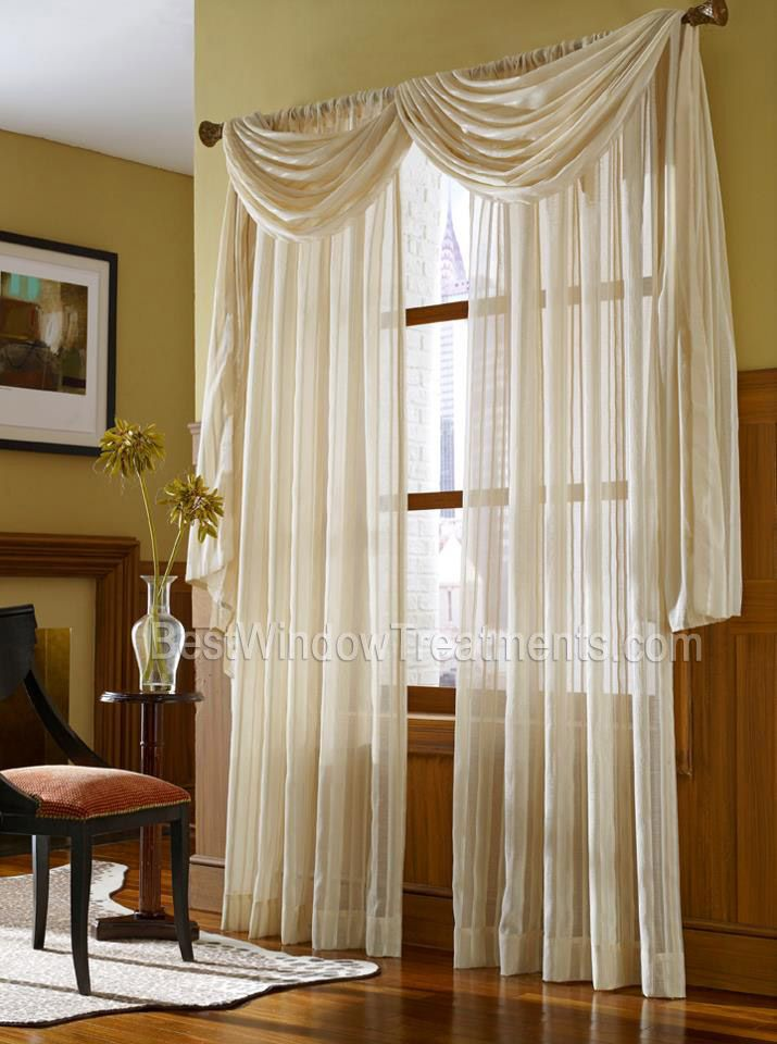 Leno Stripe Sheer Scarf Swag Curtain Top Treatment NFPA