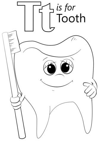 Letter T is for Tooth coloring page from Letter T category