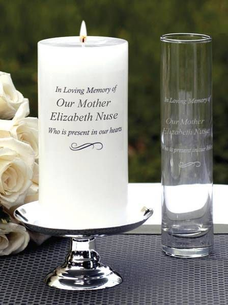 What a great way to add a special touch to a funeral but with a custom engraved candle and matching bud vase. The loved one's favorite flower can be added in the bud vase. The candle can be lit on holidays, birthday, date of death to remember the departed. $68 includes a bud vase and free engraving on both the candle and bud vase.