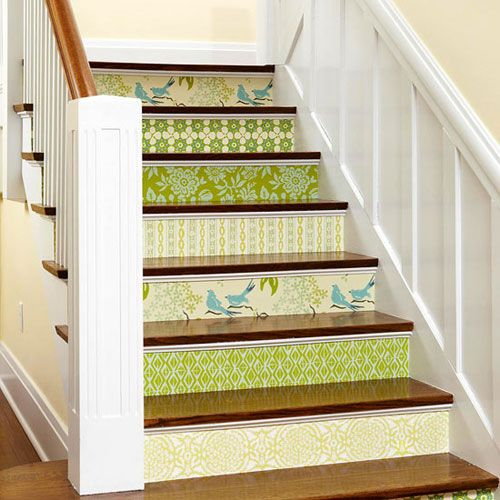 Staircase Ideas Stair Risers Decorated With Wallpaper