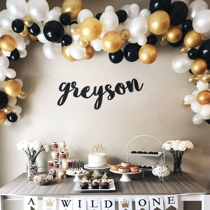 Black Gold White Balloons Gold Graduation Party Black Party
