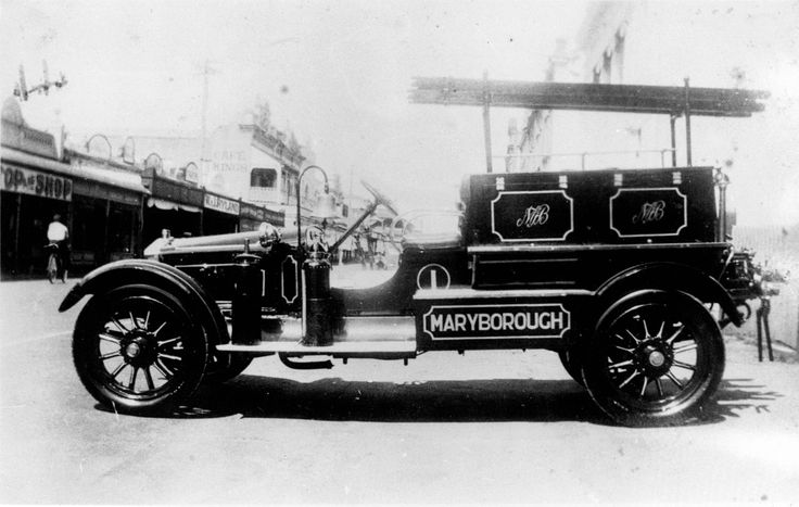Adelaide St (outside the Fire Station), Maryborough, Queensland, ca 1925 - The first motorised fire engine in Maryborough. The Maryborough Fire Brigade Board was the first fire brigade in Queensland outside of the capital city of Brisbane.