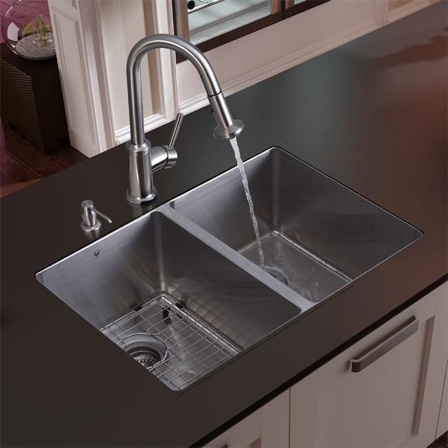 Vigo Undermount Stainless Steel Silver Kitchen Double Sink Faucet Grid And Dispenser