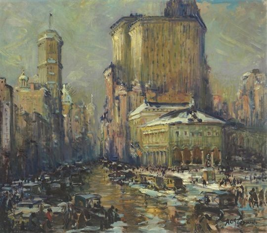 """""""Herald Square, New York,"""" Arthur Clifton Goodwin, oil on canvas, 38 x 44"""", private collection."""