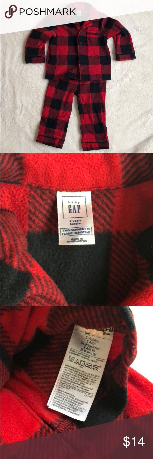 Gap Red & Black Buffalo Check Fleece Pajamas 2T This is a
