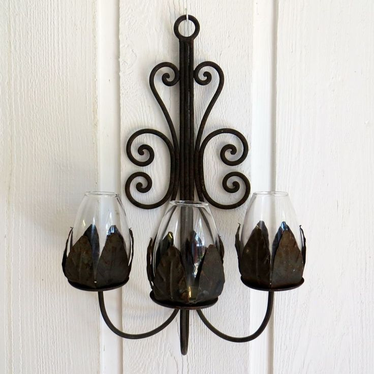 Iron And Glass Candle Wall Sconces : Vintage Wrought Iron Wall Sconce Candle Holder 3 Glass Metal Petals 17