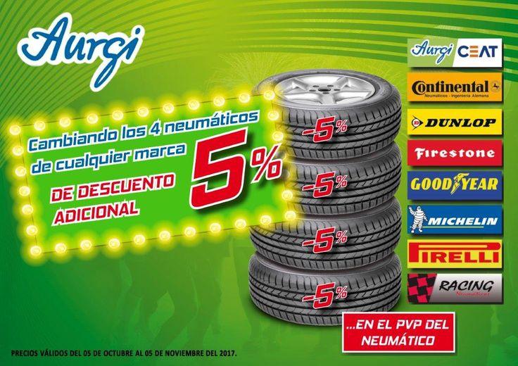 Oferta Aurgi DESCUENTO 5% OFERTA 4 NEUMÁTICOS BARATOS campaña Otoño 2017 - Oferta válida hasta el 05 de noviembre del 2017. Más información en www.aurgi.com