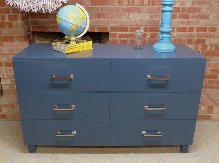 Refinished With A Lacquer In Benjamin Moore Hale Navy With Hickory Hardware  Studio Pulls In Bright Nickel Via