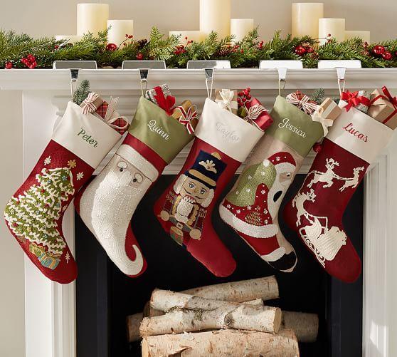 Classic Crewel Embroidered Stocking - Christmas Tree #potterybarn
