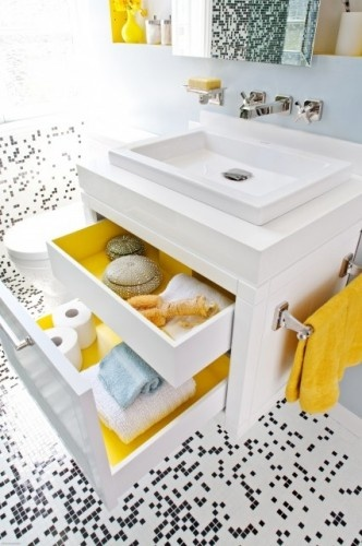 : Bathroom Design, Idea, Pop Of Colors, Small Bathroom, Modern Bathroom, Bathroomdesign, Under Sinks, Undersink, Drawers