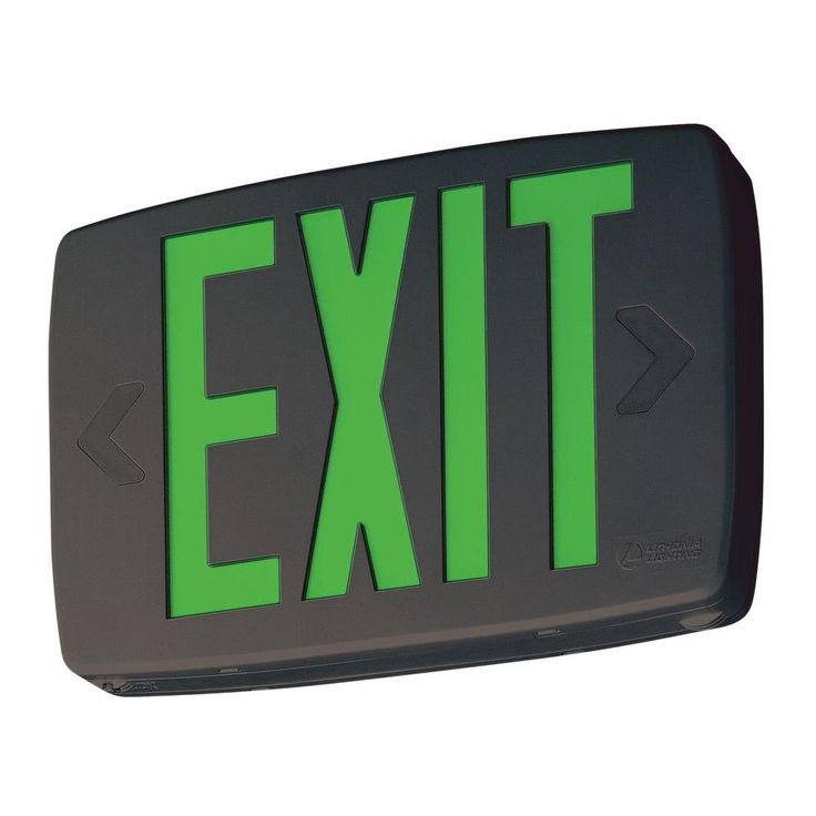 Lithonia Lighting Quantum Black Thermoplastic LED Emergency Exit Sign with Battery Backup
