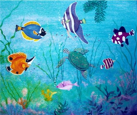 59 best under water creation mural images on pinterest for Creation mural kids