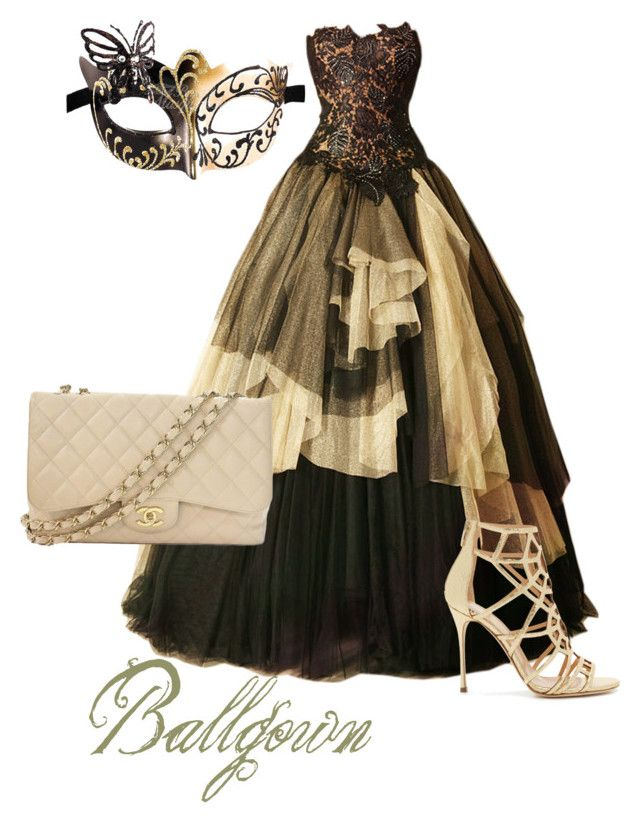 """""""Masquerade - BALLGOWN"""" by kyah-bell ❤ liked on Polyvore featuring Sergio Rossi, Chanel and ballgown"""