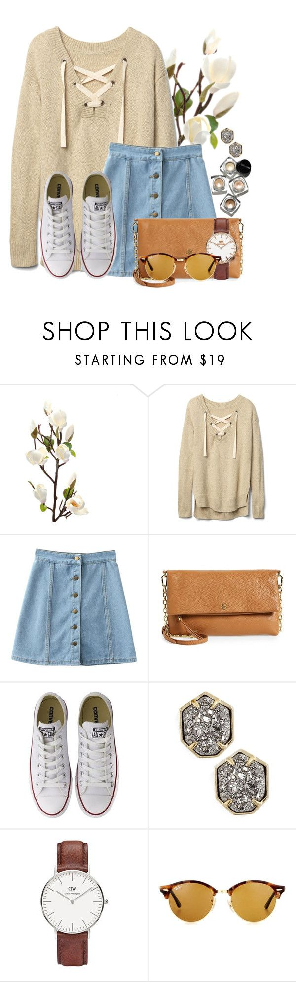 """Good morning Poly⭐️"" by flroasburn ❤ liked on Polyvore featuring Gap, Tory Burch, Converse, Kendra Scott, Bobbi Brown Cosmetics, Daniel Wellington and Ray-Ban"