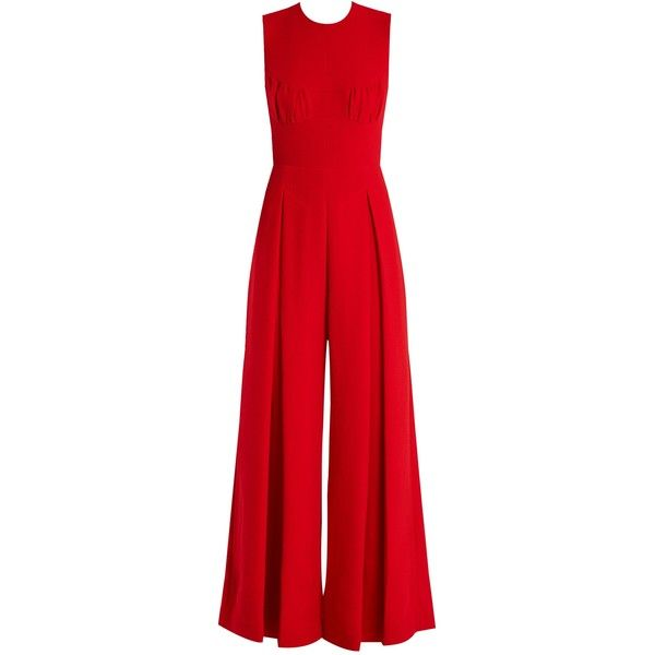 Emilia Wickstead Ethel wide-leg wool-crepe jumpsuit found on Polyvore featuring jumpsuits, jumpsuit, emilia wickstead, red, red jump suit, cocktail jumpsuit, evening jumpsuits, jump suit and tailored jumpsuit